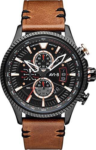 AVI-8 AV-4064-05 - Orologio da uomo al quarzo, 45 mm, quadrante nero, cinturino in pelle nera