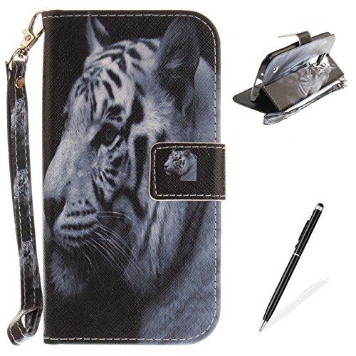 MAGQI Etui LG K8 Premium Flip PU Cuir Portefeuille Housse,[Motif de Série Animaux Sauvages] avec Fonction Stand Fente pour Carte Antichoc Bumper Coque Case Cover - Tigre Blanc
