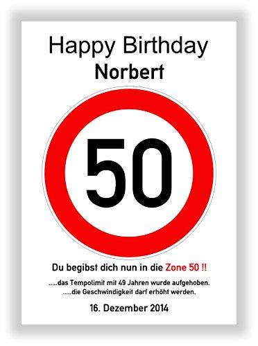 Unbekannt Verkehrszeichen 50. Geburtstag - Verkehrsschild - Hinweisschild - Kunstdruck Schild - Bild - Straßenschild - Deko - Party Dekoration