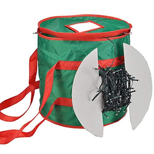 JEMIDI Aufbewahrungstasche für Lichterketten Grün 30,5 x 28cm Tasche Box Aufbewahrung Tasche Lagertasche Lichter Ketten Weihnachtsdeko Dekoration