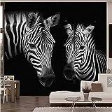 EMTF Photo Murale 3D Vintage Noir Blanc Zèbre Animal Photo Papier Peint pour Salon TV Fond Imprimé Mural Mur Décor De Mode Murales Personnalisé-360X260Cm