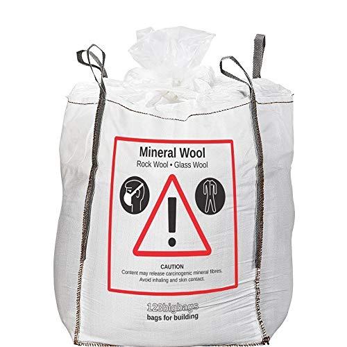 Big Bag Mineralwolle 1m³ Maße 90x90x120cm   Sack für Glaswolle und Mineralwolle   10er-Pack