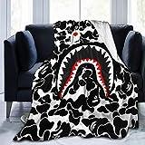 LouisMButler Shark Teeth Ba-pe Blanket Flannel Fleece Siesta Sofa Throw Lightweight Cozy Couch Bed Plush Blanket (50' X 40')(60'X50')(80'X60') 80'X60'