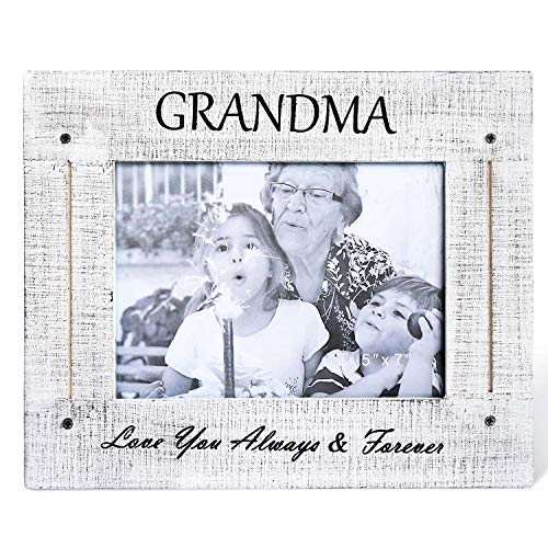 BOLUO Grandma Picture Frames 5x7 Rustic Wood Grandmother Love Photo Frame Distressed White (GM57-W)