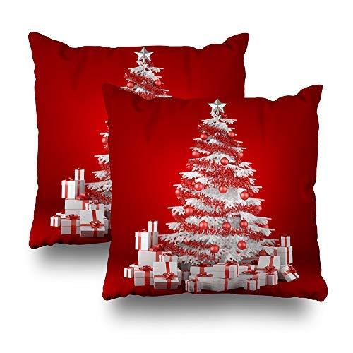 GFGKKGJFD Juego de 2 fundas de cojín de regalo para sofá, adolescentes y niñas, diseño de árbol de Navidad blanco con árbol de Navidad y rojo