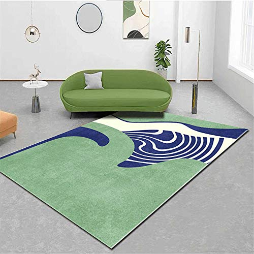 RUGMYW A Prueba De Polvo Alfombra Comedor Patrón Abstracto Beige Azul Verde Alfombra Yoga Antideslizante 120X160cm
