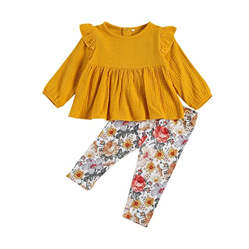 3PCS Toddler Baby Girl Christmas Outfits Long Flared Sleeves Ruffle Tops Floral Pants with Scarf Sets (E2-Yellow, 0-6 Months)