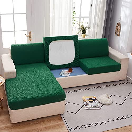 Elastischem Jacquard Sofa Sitzkissenbezug, Dicke Spandex Rutschfester Sofasitzbezug Abnehmbar 1 Stück Sofakissenbezug Waschbar Für Wohnzimmer-Grün C.-3 Sitzer
