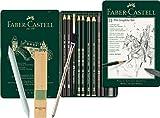 Faber-Castell Pitt Graphite Set en estuche de metal, pequeño, 11 + 3 piezas (incluye lápiz de borrar con pincel, borrador de papel y bloque de afilar minas)