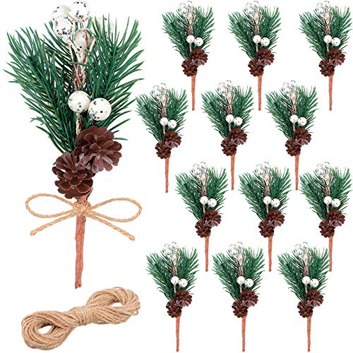 12 Pieces White Christmas Berries Stems Pine Cone White Holly Spray Wreath Picks Branches Artificial Pine Cones Branch Craft Wreath Pick for Decoration DIY Xmas Garland Crafts