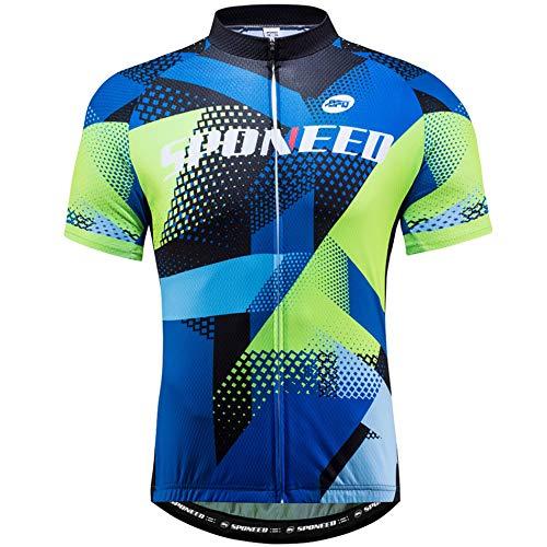 sponeed Men's Bike Jersey Bicycle Shirt Tops Full Zip Breathable US L Multi