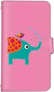 スマ通 Android One X2 国内生産 ミラー スマホケース 手帳型 HTC エイチティーシー アンドロイド ワン エックスツー 【ピンク】 象 小鳥 ぞう 鳥 q0004-a0210