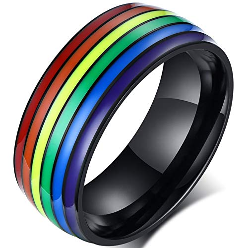 yfstyle Rainbow Pride Rings for Women Men Gay Lesbian 8mm Stainless Steel Engagement Rings Black Silver Plated LGBT Ring Size 6 to 15 LGBTQ Jewelry Gifts Black Band