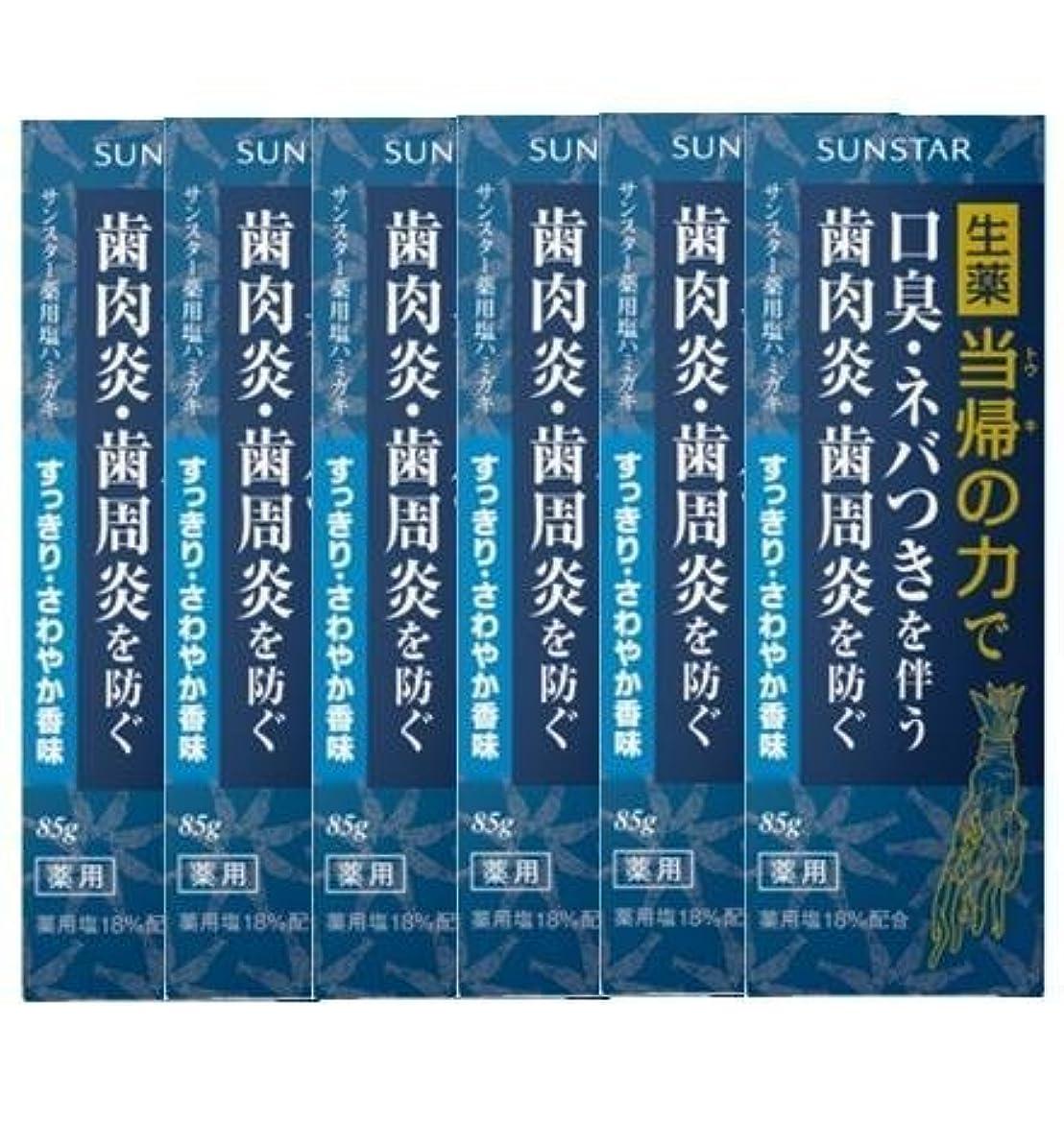 原稿展示会再発する薬用ハミガキ 生薬 当帰の力 さわやか香味85g×6個セット