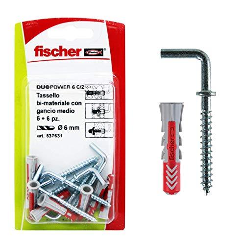 Fischer 537631 Taco con Gancho Medio Duopower, Gris/Rojo, 6 pz, Set de 6 Piezas