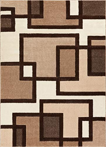 Uptown Squares Ivory & Brown Modern Geometric Comfy Casual Hand Carved Area Rug 8x10 8x11 ( 7'10' x 9'10' ) Easy Clean Stain Resistant Abstract Boxes Contemporary Thick Soft Plush Living Dining Room