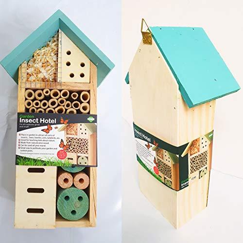 ADEPTNA Insektenhotel aus Holz, für alle Kreaturen, groß und klein – Nest Home für Bienen, Käfer, Ameisen, Marienkäfer und alle Arten von Insekten