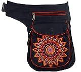 Guru-Shop Stoff Sidebag & Gürteltasche Mandala, Goa Gürteltasche, Bauchtasche - Rot, Herren/Damen, Schwarz, Baumwolle, Size:One Size, Festival- Bauchtasche Hippie