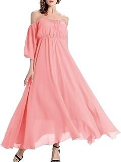 570ac74f175f Afibi Women's Off-Shoulder Long Chiffon Casual Dress Maxi Evening Dress