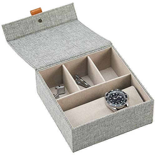 mDesign Schmuckkasten mit Deckel – elegante Stoffkiste mit 3 Fächern für Schmuck und einer Halterung zur Uhrenaufbewahrung – ideale Aufbewahrungsbox für Wertsachen – dunkelgrau