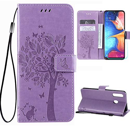 Samsung Galaxy A20 Wallet Case with Screen Protector,Galaxy A30 PU Leather Protective Case Emboss Love Tree Cat Folio Magnetic Card Holder Kickstand Flip Case for Samsung Galaxy A20/A30 Light Purple