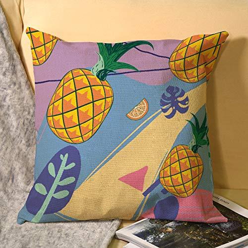 unknown Color piña y fruta naranja patrón púrpura decorativo cuadrado funda de almohada fundas de almohada fundas de almohada fundas de almohada decoración del hogar decoración para sofá cama silla DM20200330PLT015
