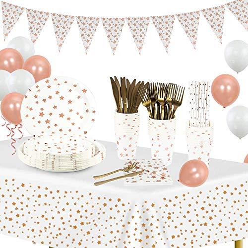 Suministros de fiesta de oro blanco y rosa Juegos de vajilla, platos y vasos de papel, servilletas, pajitas, tenedores y cuchillos, carteles, manteles y globos para decoración de fiestas