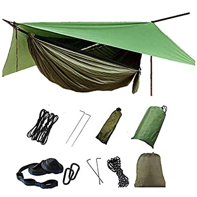 DSTong 1/2 Person Hammock with Mosquito Net and Rain Fly Outdoor Camping Hammock Hammocks Tents for Camping Backpacking Hiking (ArmyGreen)