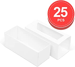 BAKIPACK Macaron Boxes for 4 or 5 Macarons 25 Packs White Macaron Boxes,Candy Gift Boxes, Macarons Box with Clear Window (Interior Meament 4.8