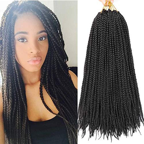 Lihui 7Packs Box Braids Crochet Hair 30Inch Crochet Box Braids 22 Strands/pack Synthetic Braiding Hair (30Inches, 1B Color)