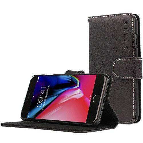 Snugg Schutzhülle für iPhone 7 Plus / 8 Plus – Etui aus Leder mit Kartenschlitzen & Ständer – Legacy-Kollektion, Flipcase, Handyhülle in Schwärzestes Schwarz