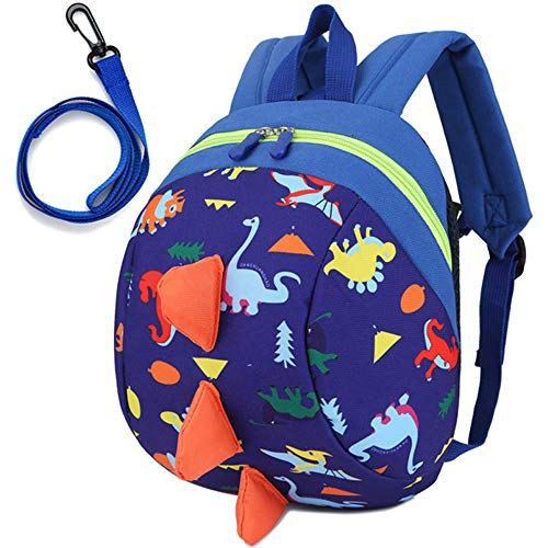 Toddler Kids Backpack Rucksack with Reins for Boys/Girl, Dinosaur Rucksack Toddler, Cartoon Safety Anti-Lost Strap Rucksack Kids Bag 27 * 19 * 11cm / 10.62 * 7.28 * 4.33inch (Deep Blue)