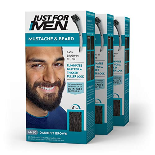 Just For Men Mustache & Beard, Beard Coloring for Gray Hair with Brush Included - Color: Darkest Brown, M-50 (Pack of 3)