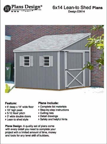 Do it yourself a storage shed plans, Lean To Style Shed Plans, 6' x 14' Plans Design E0614