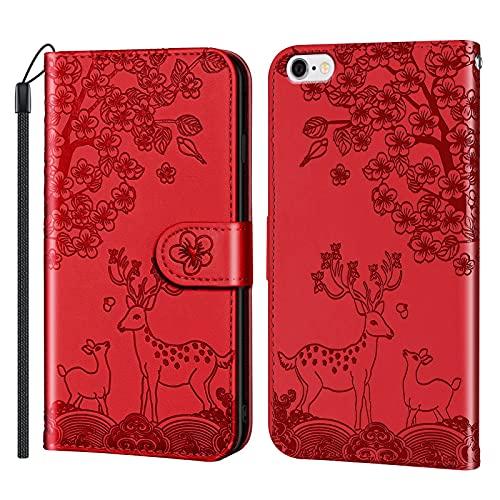 Coque Portefeuille pour iPhone 6S / iPhone 6 4.7inch Housse Protection en Cuir avec Support Porte Carte Antichoc Case Étui pour iPhone 6S / iPhone 6 - JERX020002 Rouge