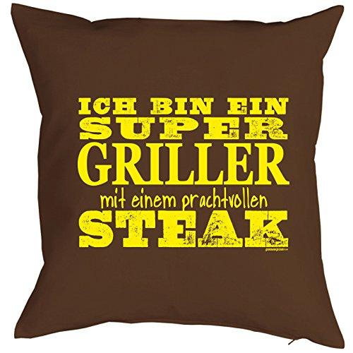 Kissenbezug Ich bin ein Super Griller mit einem prachtvollen Steak Kissen-Bezug Polster Koch Köche Köchin Hobbkoch cooles Geschenk