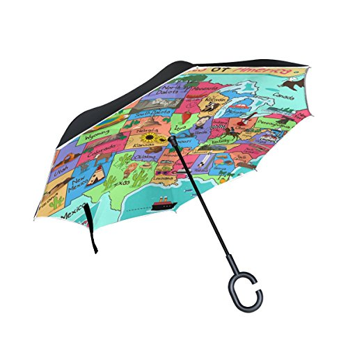 Reverse Folding Umbrella for Car Double Layer Inverted Umbrellas with Distressed American Maine Flag Print