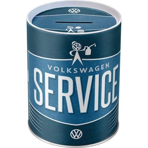 Nostalgic-Art - Volkswagen - VW Service - Spardose, Geschenk-Idee für Volkswagen-Fans, als Sparschwein aus Metall, Vintage Sparbüchse aus Blech