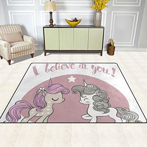 ISAOA Alfombra Moderna y Suave para niños, Color Rosa y Azul, diseño de Unicornios, Alfombra para Dormitorio, Sala de Estar, habitación de niños, decoración Antideslizante y Lavable, 152 cm x 120 cm
