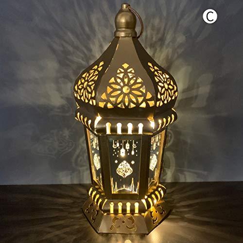 YFANHAN Ramadan Lights Eid Al-Fitr Fabricado De Hierro Forjado Linternas De Viento, Iluminación De Velas LED, Adornos De Artesanía Colgantes para Ramadan Mubarak Lámpara Decoración, Adornos,C