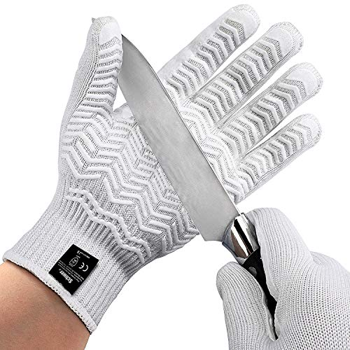 Schwer Level 6 Cut Resistant Cutting Gloves for Wood Carving Rotary Cutting Handling Glass Moving Boxes with Rubber Grip(Small)