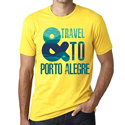 One in the City Hombre Camiseta Vintage T-Shirt Gráfico and Travel To Porto Alegre Amarillo