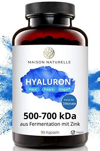 MAISON NATURELLE® Hyaluron Kapseln Vegan (90 Stück) - 500-700 kDa - aus Fermentation mit Zink - Hochdosiert mit 500mg Hyaluronsäure - Hyaluron Hyaluron Kapseln Hyaloronkapseln Hochdosiert Hyaluron