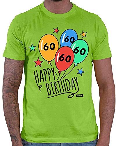 Hariz – Camiseta para hombre Happy Birthday Globos 60 cumpleaños papá abuelo Incluye tarjeta de regalo verde claro XXL