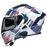 Casco De Moto Bluetooth Integrado Scooter Modular Flip Up Casco ECE Homologado Con Doble Anti Niebla Visera Hard Para Mujer Hombre Transpirable Y Cómodo ( Color : A , Size : XL/X-Large 61-62cm )
