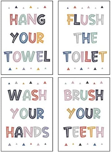 4 PCS Colorful Washroom Rules Decorations Brush Wash Flush Bathroom Sign for Kids Funny Wall product image