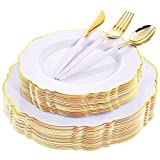 WDF 30Guest Gold Plastic Plates & Disposable Gold Plastic Silverware With White Handle- Baroque White&Gold Plastic Dinnerware for Upscale Wedding &Parties