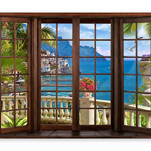 murando Fototapete 350x256 cm Vlies Tapeten Wandtapete XXL Moderne Wanddeko Design Wand Dekoration Wohnzimmer Schlafzimmer Büro Flur Fenster Landschaft Meer Natur c-C-0059-a-a