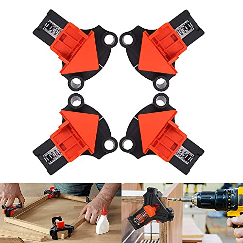Wood Clamps Angle Clamps 4Pcs Set, DIY Hand Tools Corner Clamp Multi-Angle 60 Degree 90 Degree 120 Degree Fixer, Suitable for Woodworking, Drilling and Cabinet Making