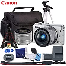 Canon EOS M100 Mirrorless Digital Camera with 15-45mm Lens (White) - Ultimate Kit